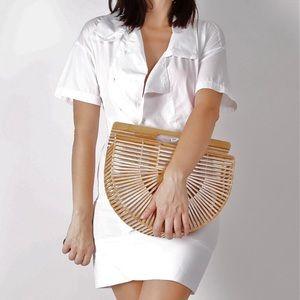 Helmet Lang White Poplin Button Shirt Dress S